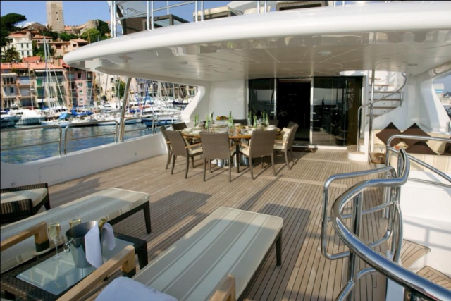 120 ft. Luxury Motor Yacht – Up to 20 People - luxury_yacht_charters_in_puerto_vallarta_deck_lounging